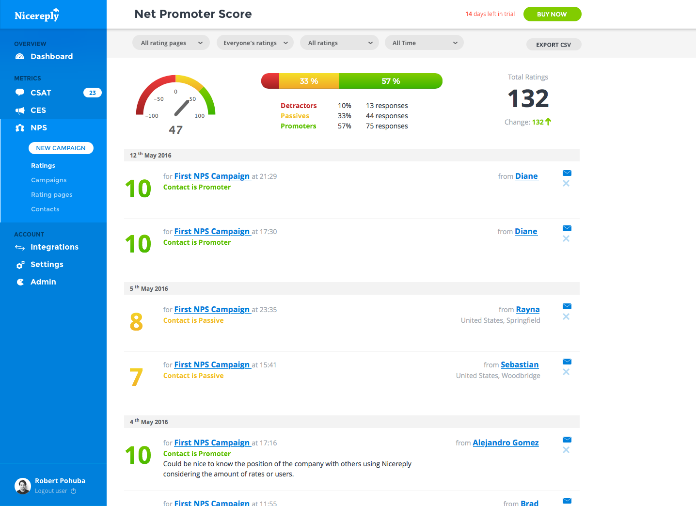 See customer feedback arrive in real-time in the rating feed dashboard.