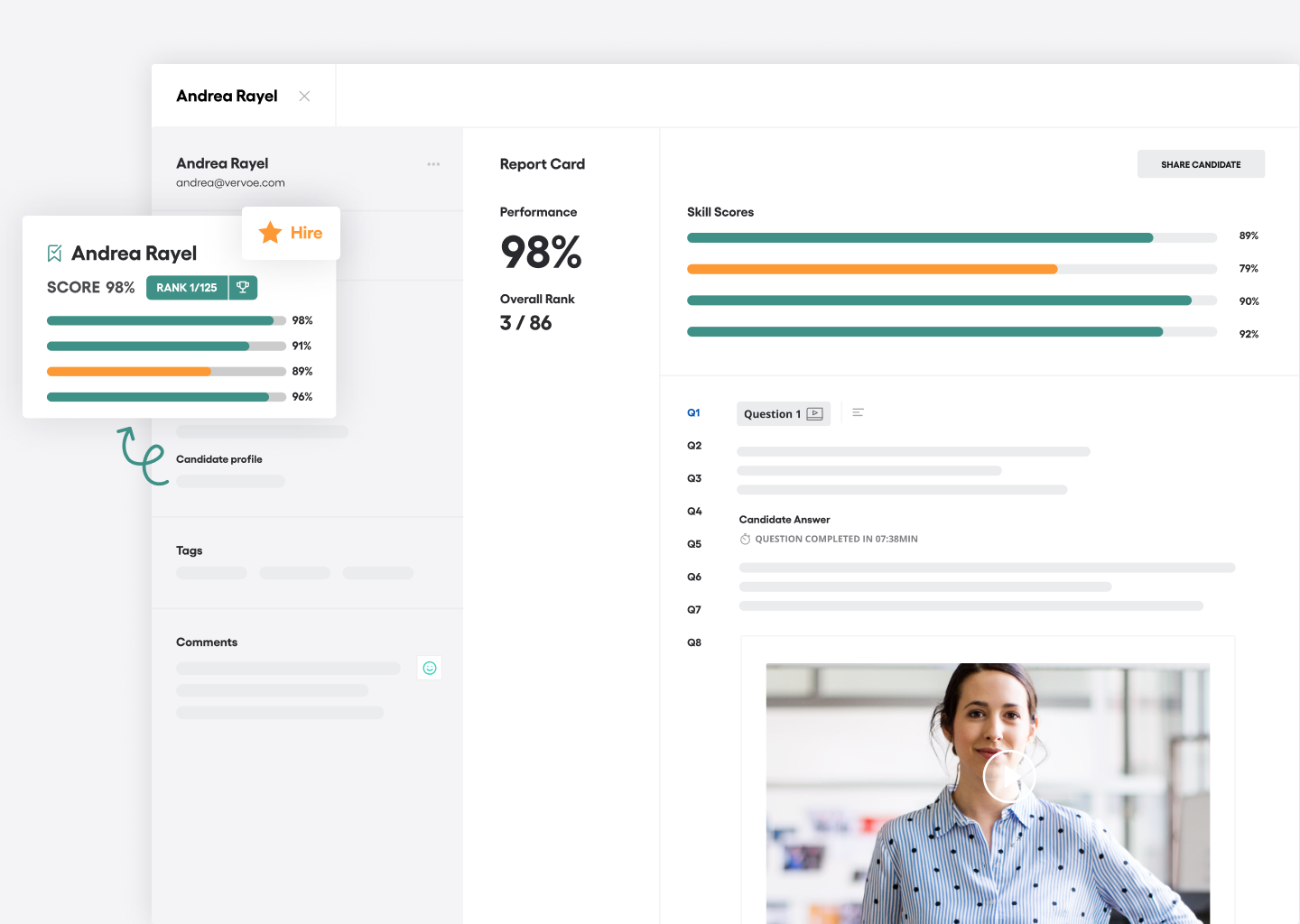 Vervoe Software - Hire the one for you: Once you've found the perfect fit mark them as `hired` in your assessment. Their assessment, skill profile and results can then be accessed at any time in all candidates