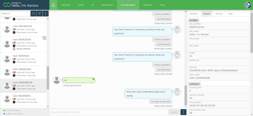 Xenioo chatbot conversation