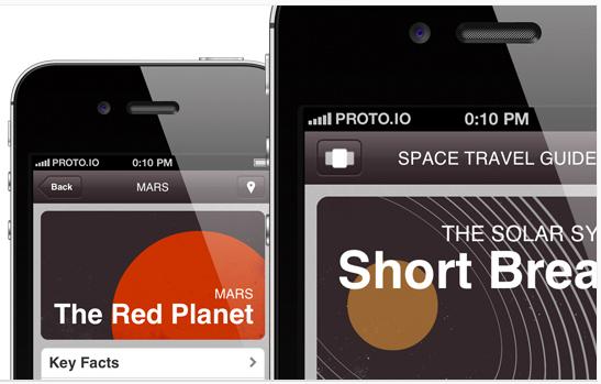 Proto.io screenshot: Feature packed example prototypes built with proto.io