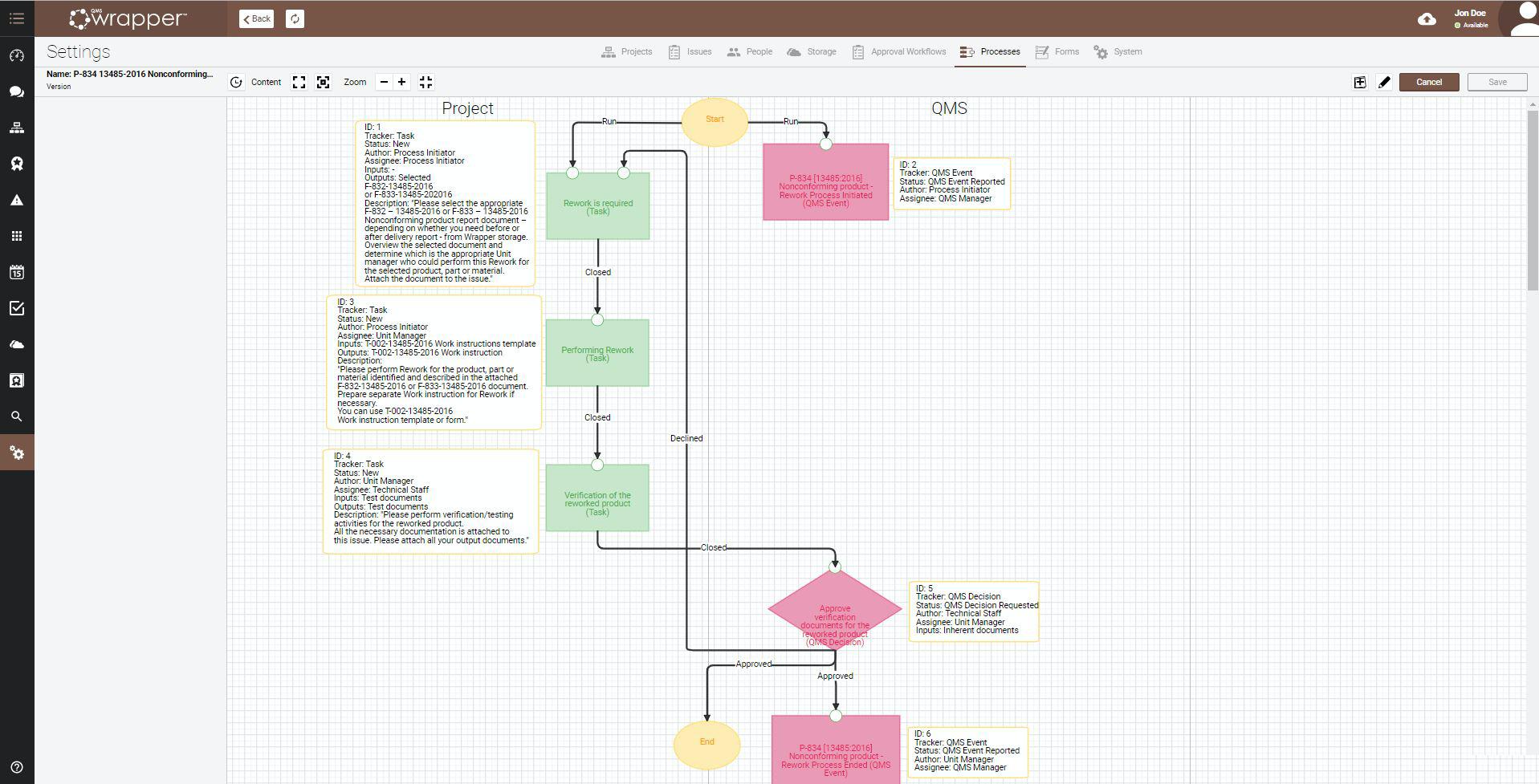 qmsWrapper screenshot: Process Framework