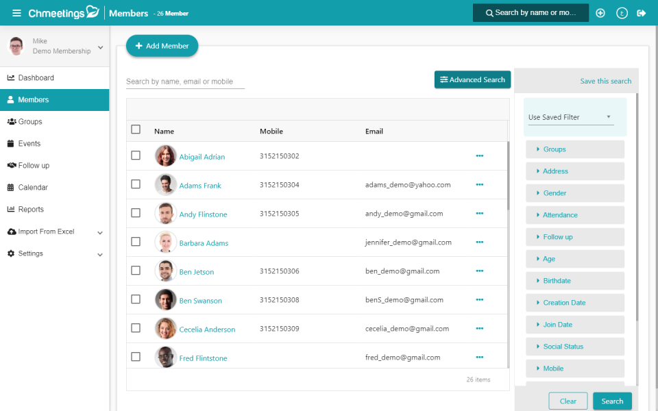 Keep track of member contact information in the activity dashboard