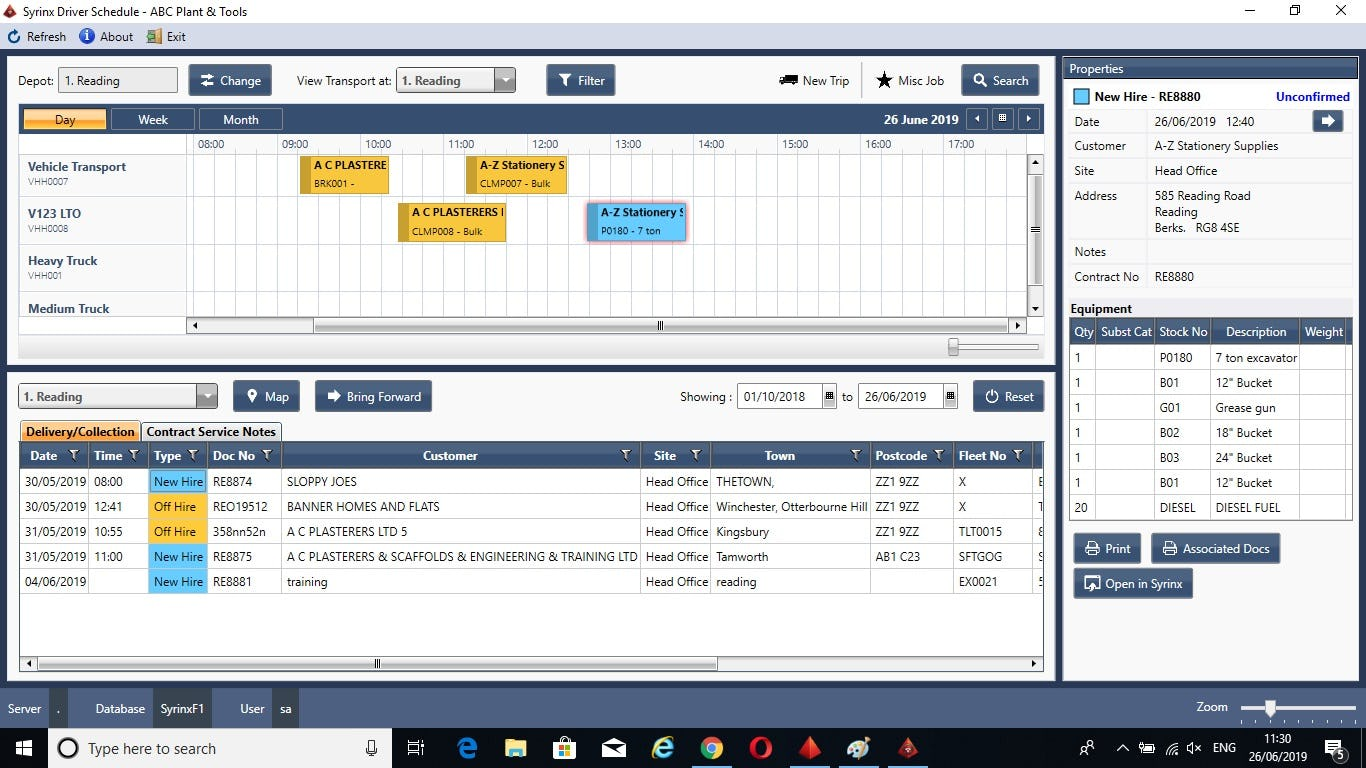 Syrinx's Driver Scheduler helps manage your deliveries and collections (much like Dispatch Center for Expert or Elite).