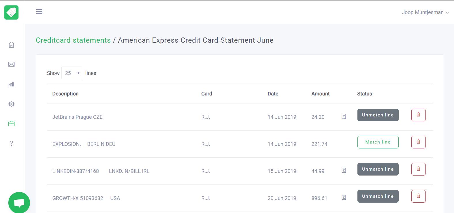 Klippa Software - Klippa card statements
