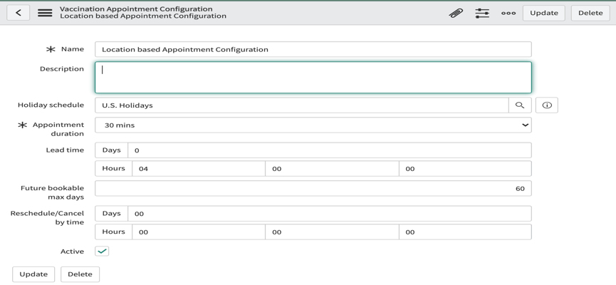 ServiceNow Vaccine Administration Management appointment configuration