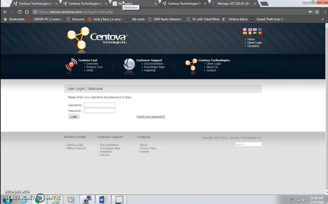 Centova Cast login