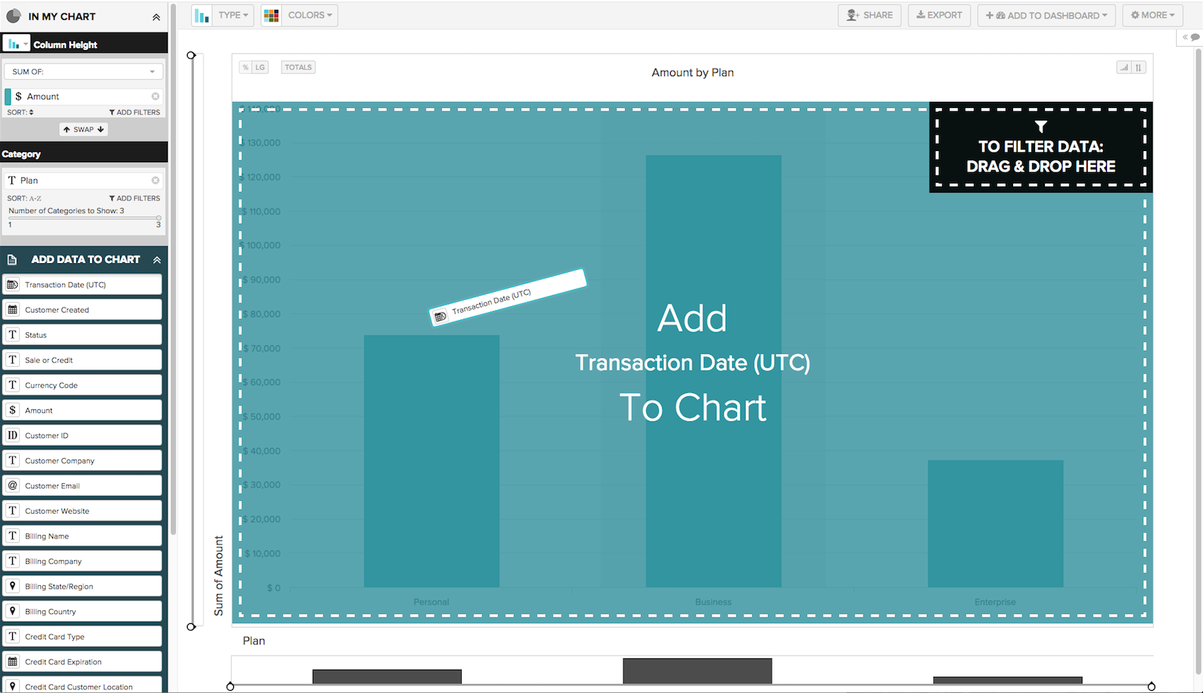 Users can create charts using the drag-and-drop interface in DataHero