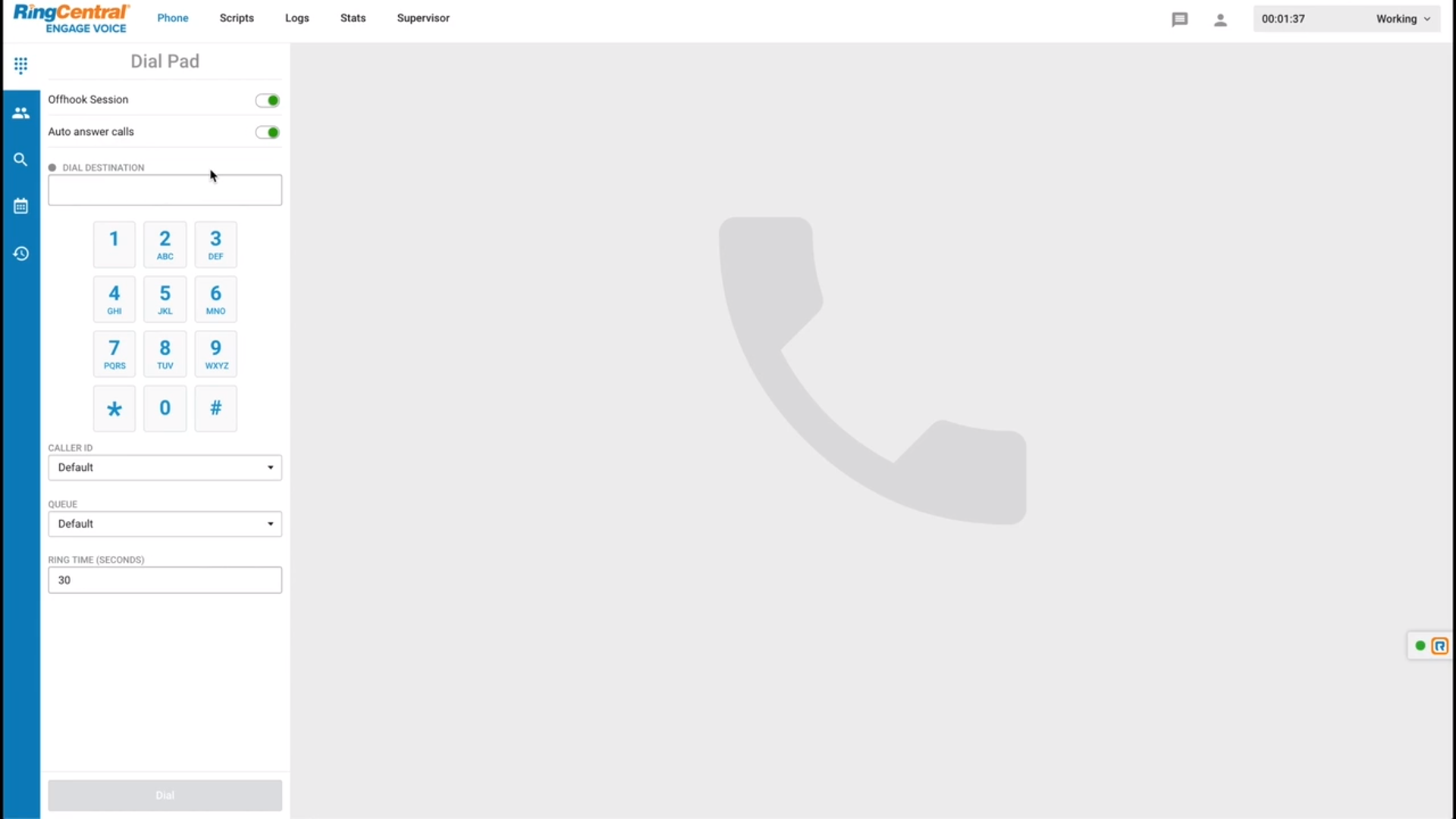 RingCentral Engage Voice dial pad screenshot