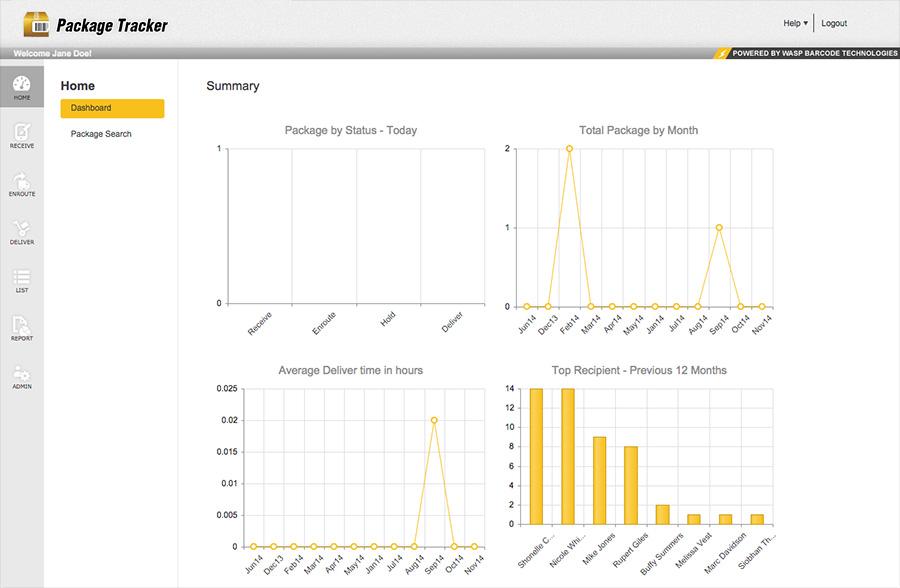 Package Tracker screenshot: Package Tracker dashboard