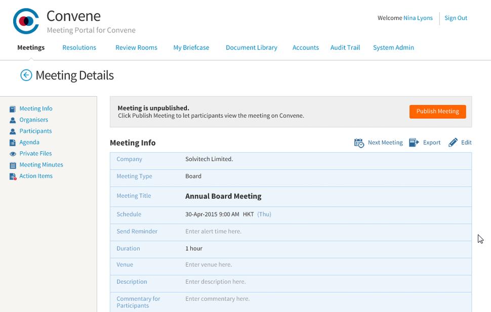 Azeus Convene Software - Agenda builder