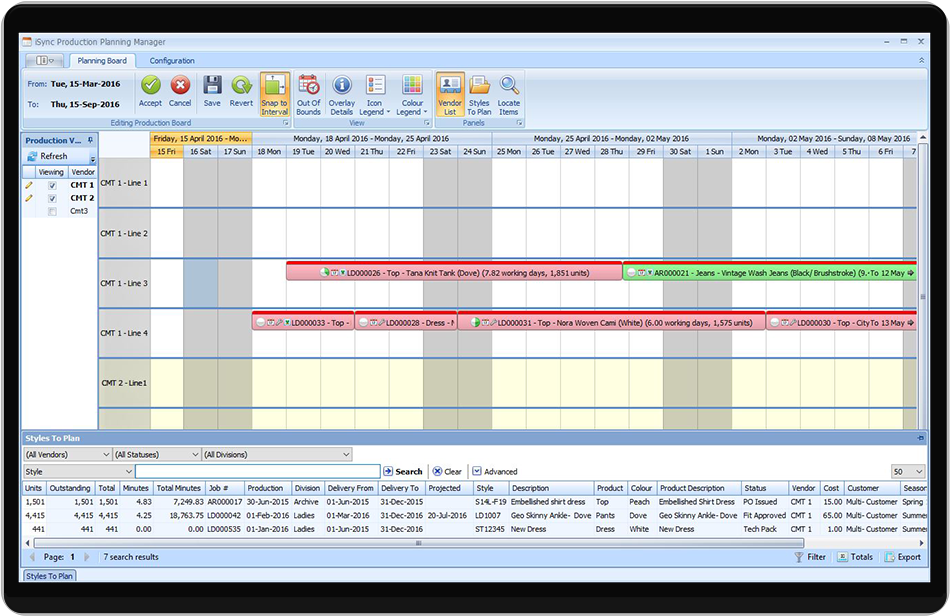 Utilize Sync's production planning board