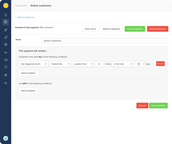 Create customer segments based on attributes and actions