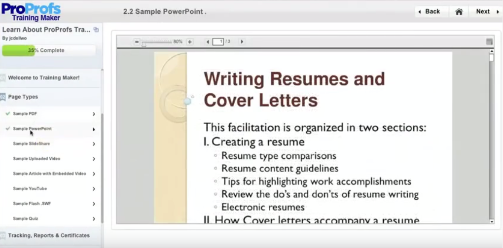 ProProfs Training Maker Software - Content authoring