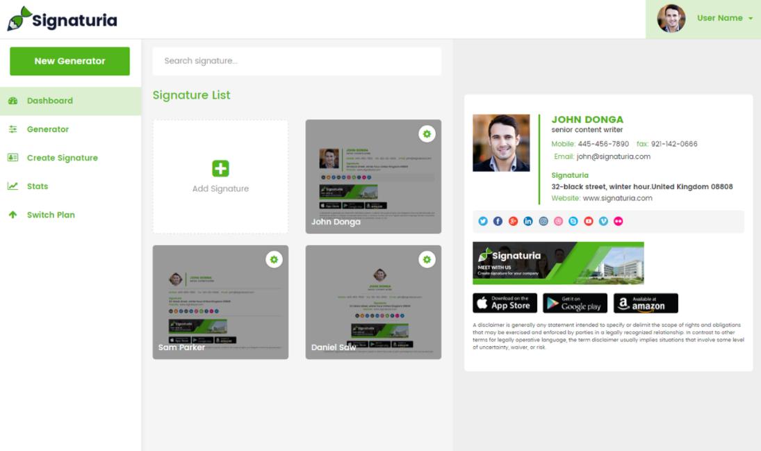 Signaturia Software - Signaturia dashboard