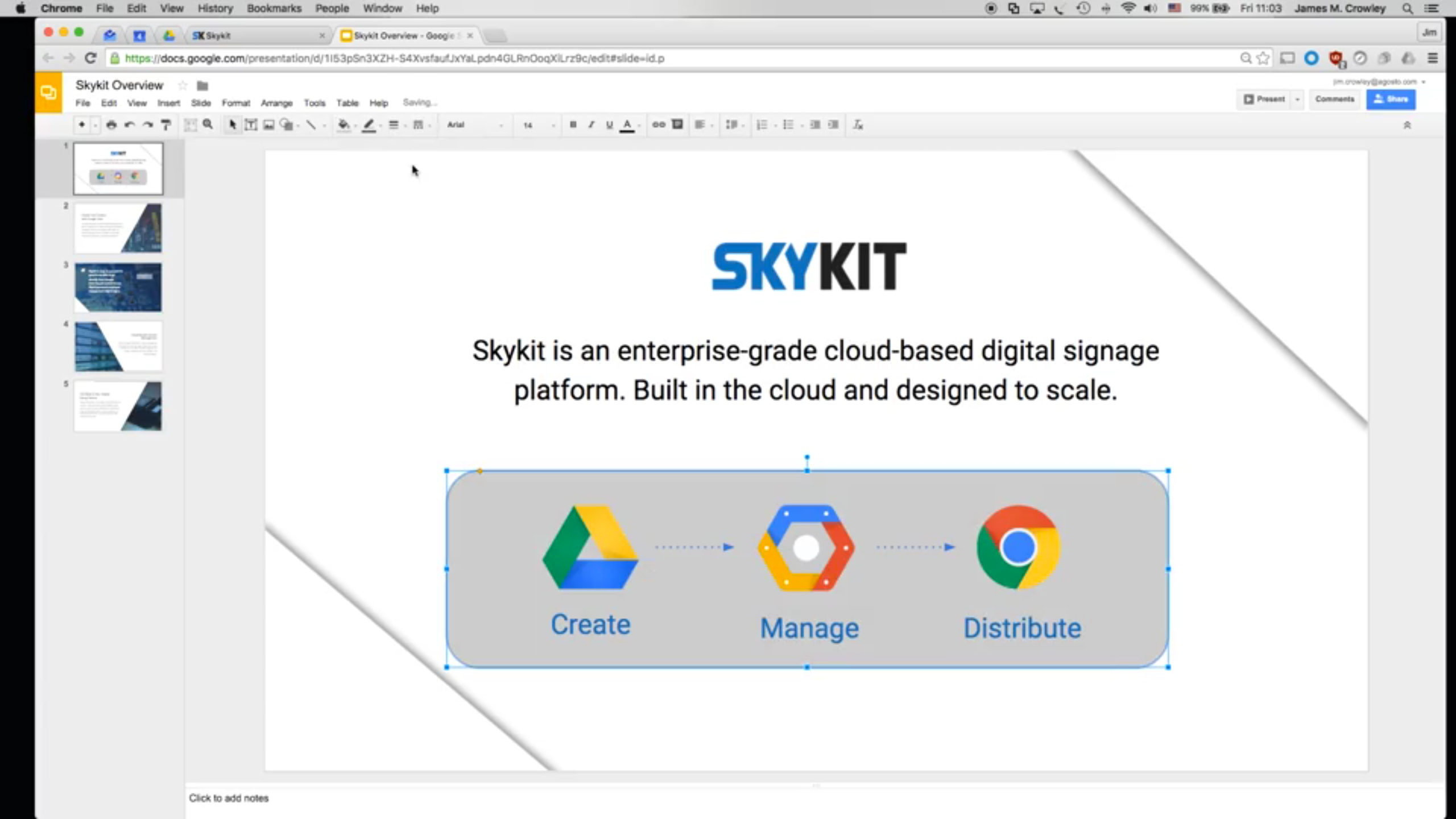 Individual presentation slides can be edited inline via seamless integration with Google Slides