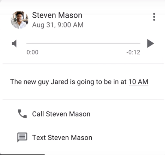 Google Voice transcribed voicemail screenshot