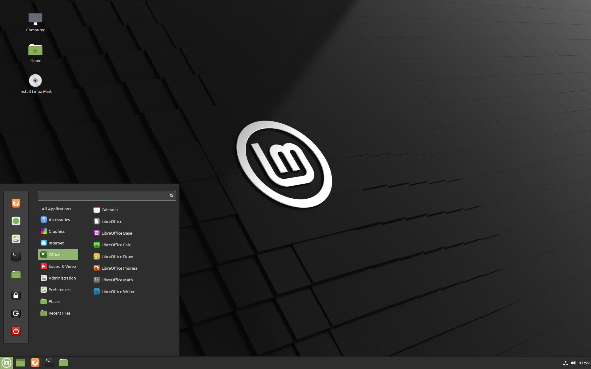 Linux Mint start menu