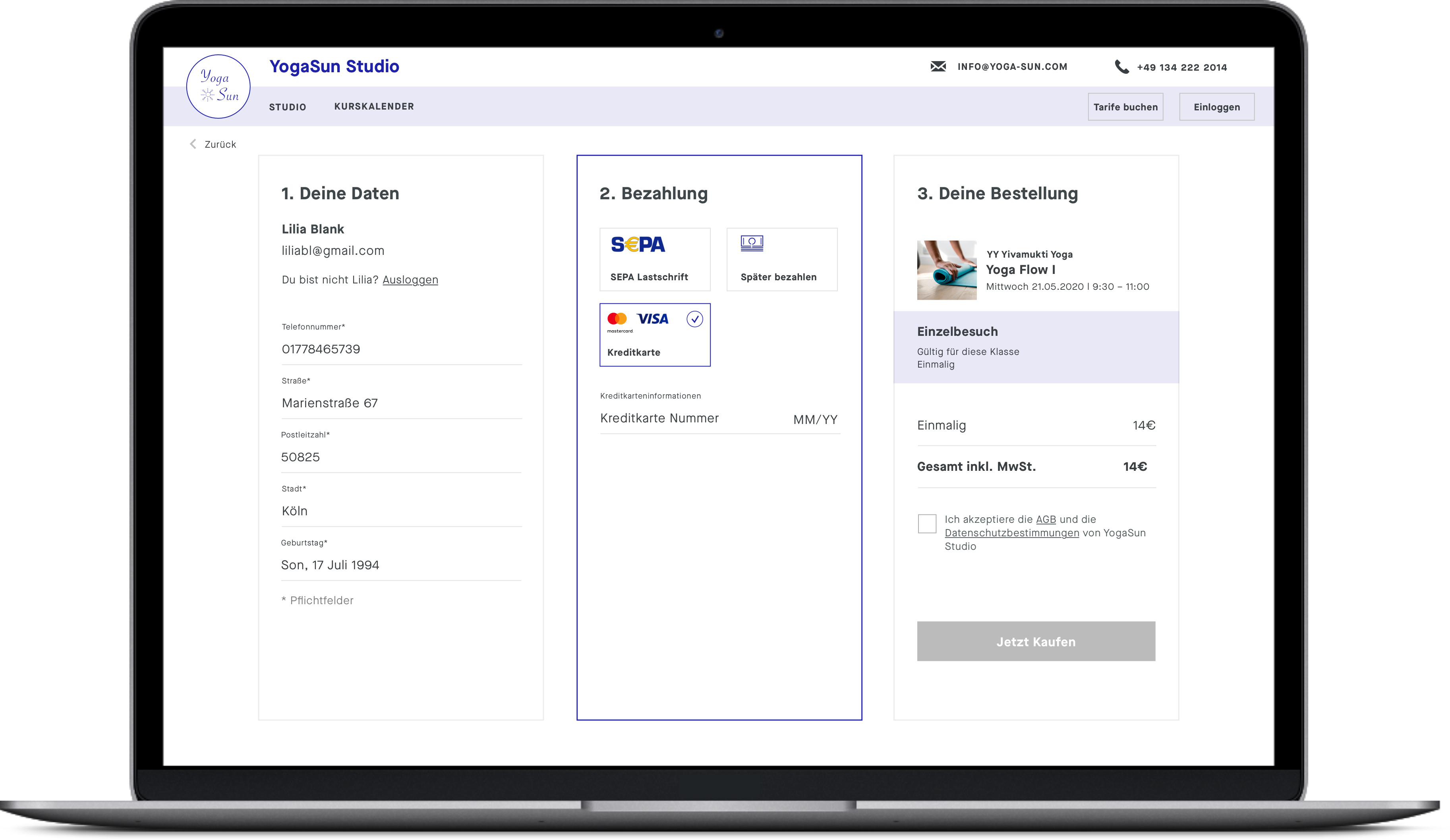 Payments page