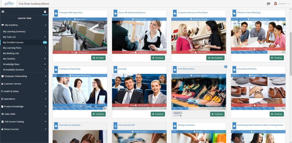 SmarterU LMS Software - Course Listing View