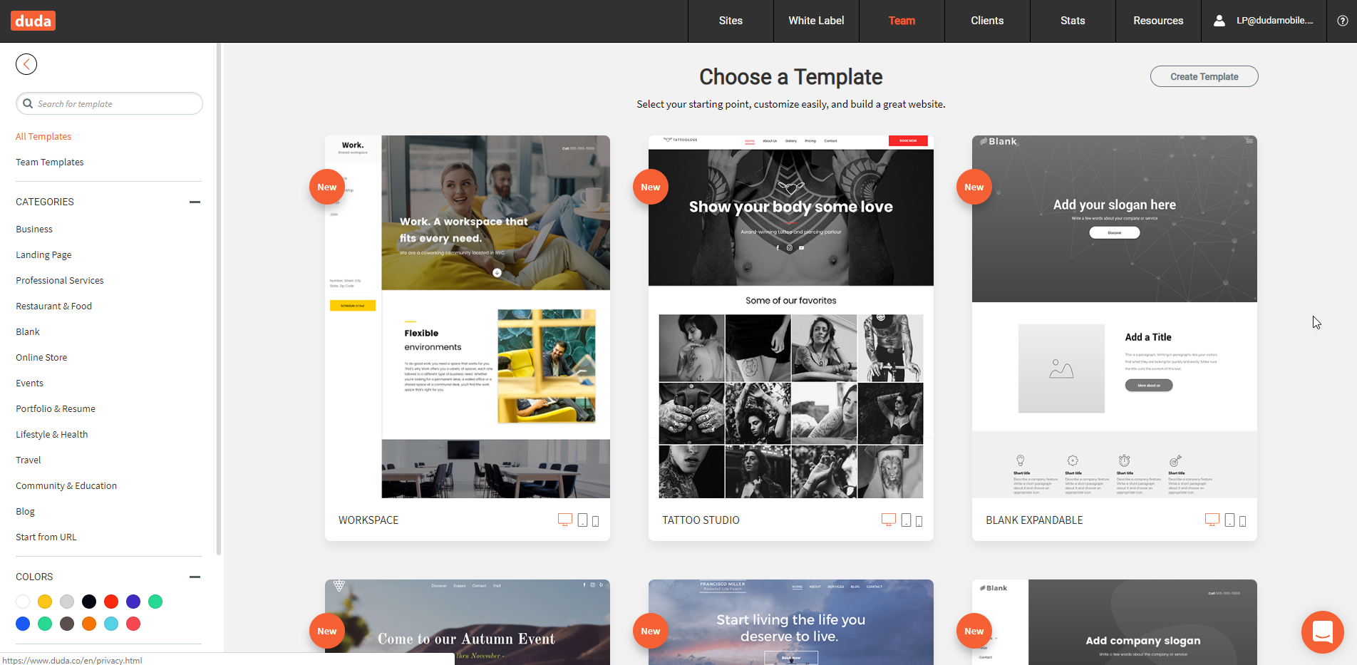 Duda screenshot: Wide Selection of Templates
