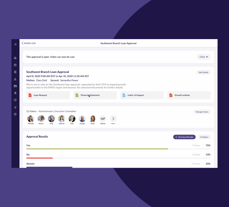 OnBoard Voting & Approvals accelerates decision-making while ensuring compliance. delivers a seamless platform to support high-impact decisions, directors can organize, track, review, comment, and approve decisions – from anywhere and on any device.