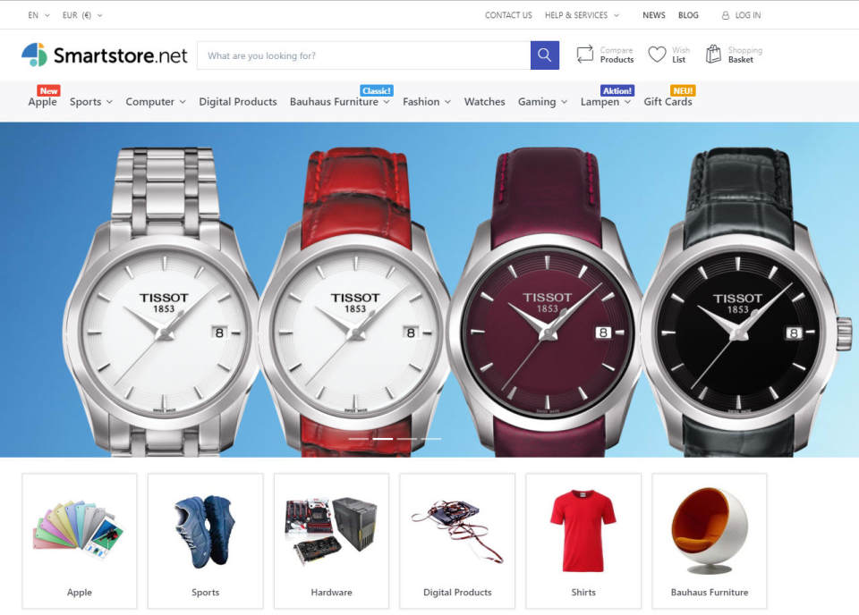 Smartstore screenshot: The solution enables users to create web shops with custom fields, editors, and more