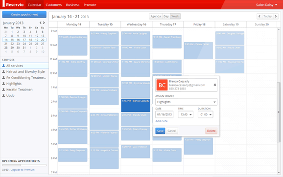 Create, view and manage appointments on a shared company calendar