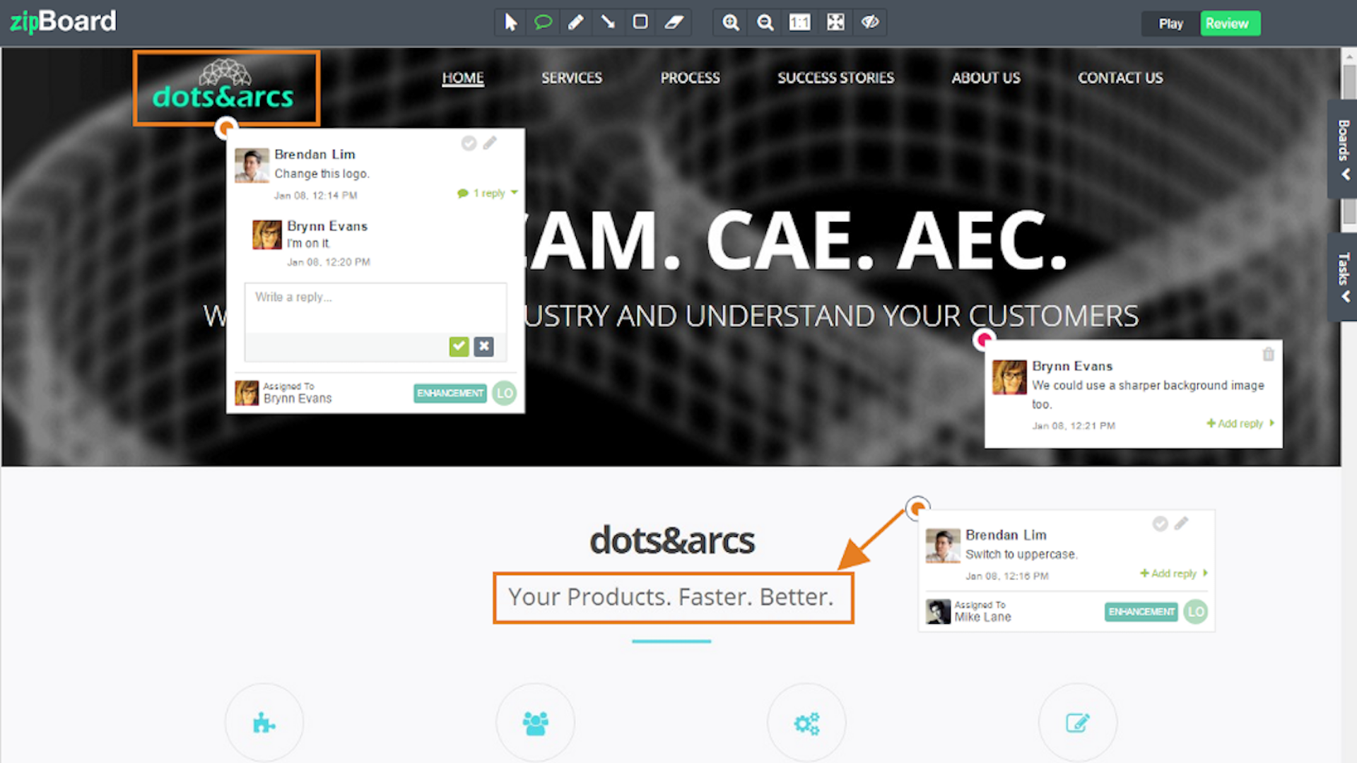 Non-technical stakeholders, clients can share reviews using the annotation tools, screen recording and screenshot tools