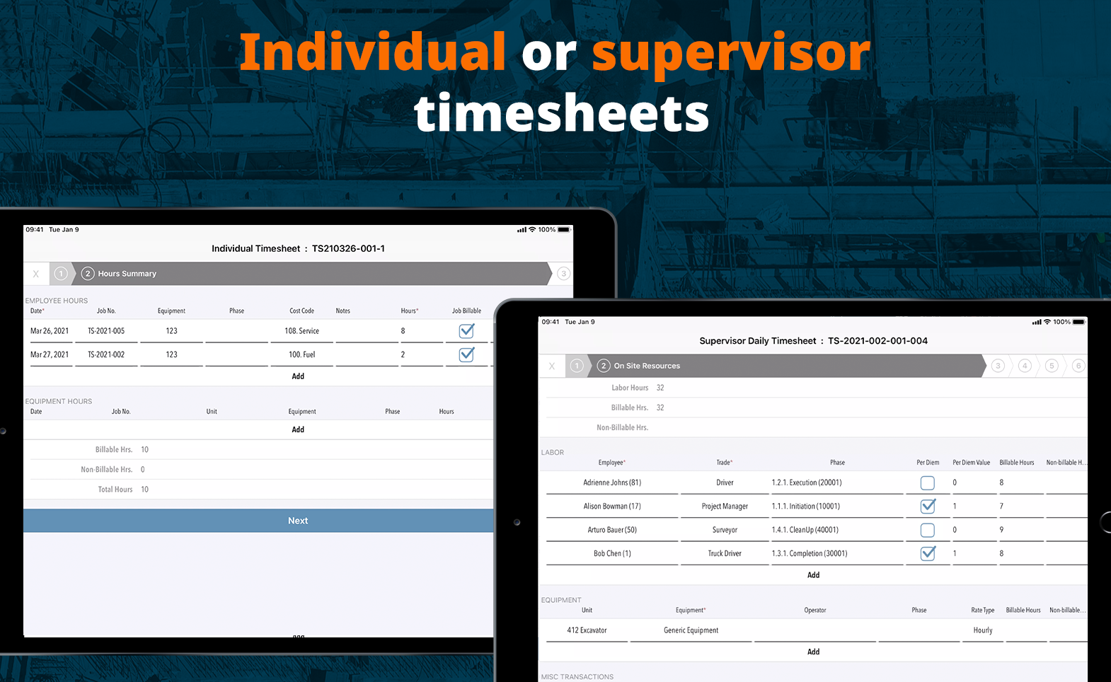 Use Aimsio to create either individual or supervisor timesheets. You can also choose to use a Work Management Ticket instead of a timesheet.