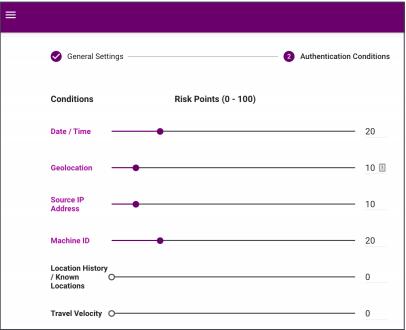 IntelliTrust risk factor control screenshot