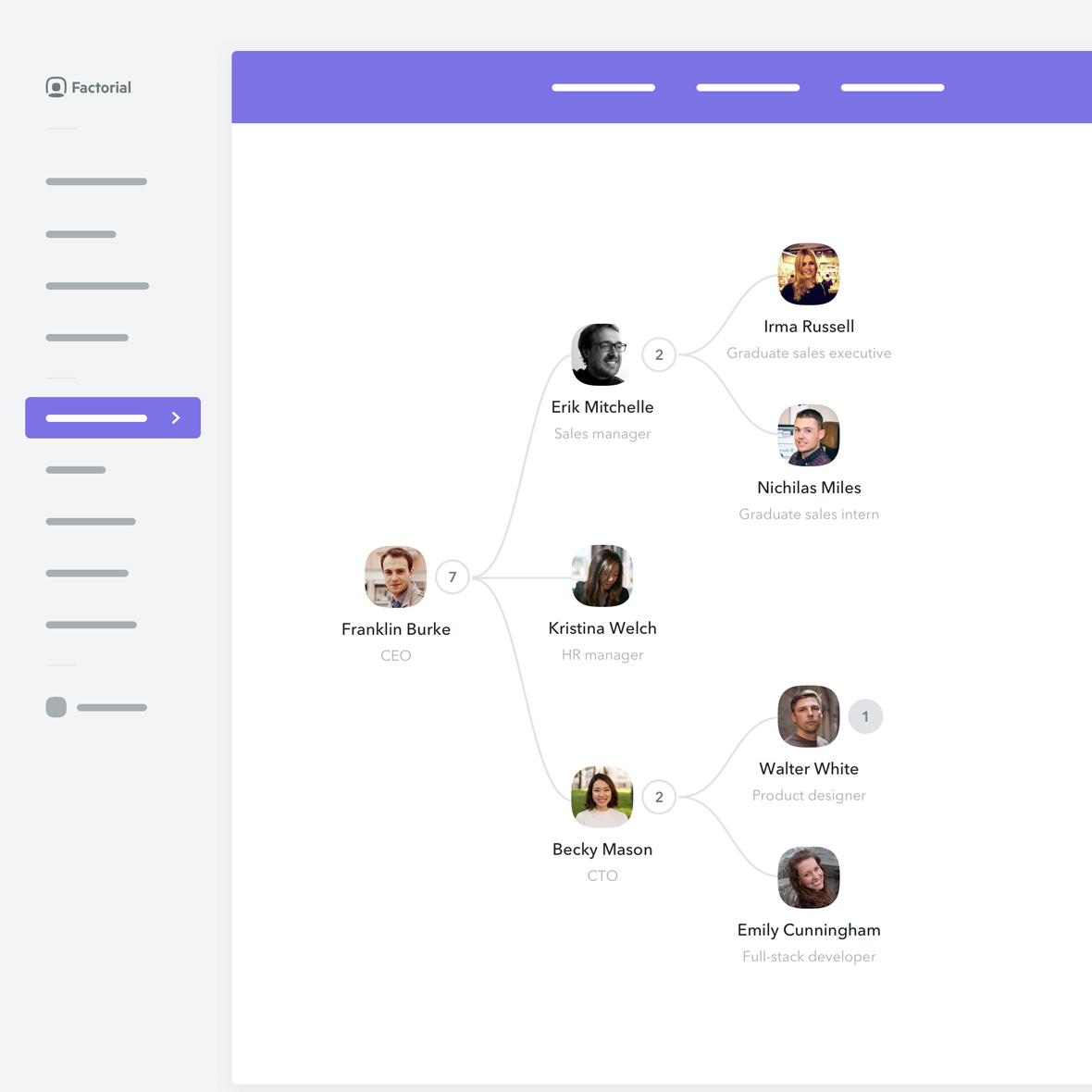 The organizational chart generator collects team data and displays an accurate org chart for the company