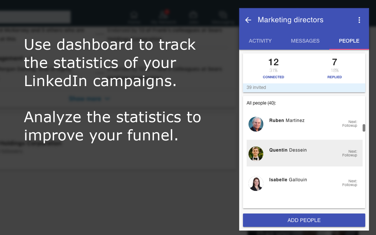 LinkedIn lead generation dashboard - analyze the performance of your LinkedIn prospecting campaigns and adjust them to improve your sales funnel.