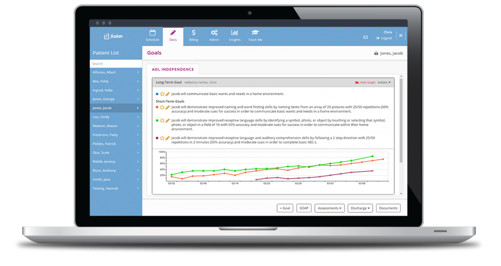 View patient progress during daily notes and place progress graphs of individual goals in patient reports