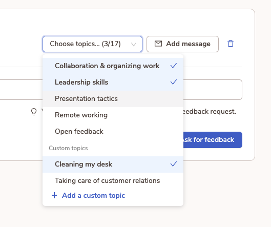 Use topics to maximise efficiency of your feedback requests