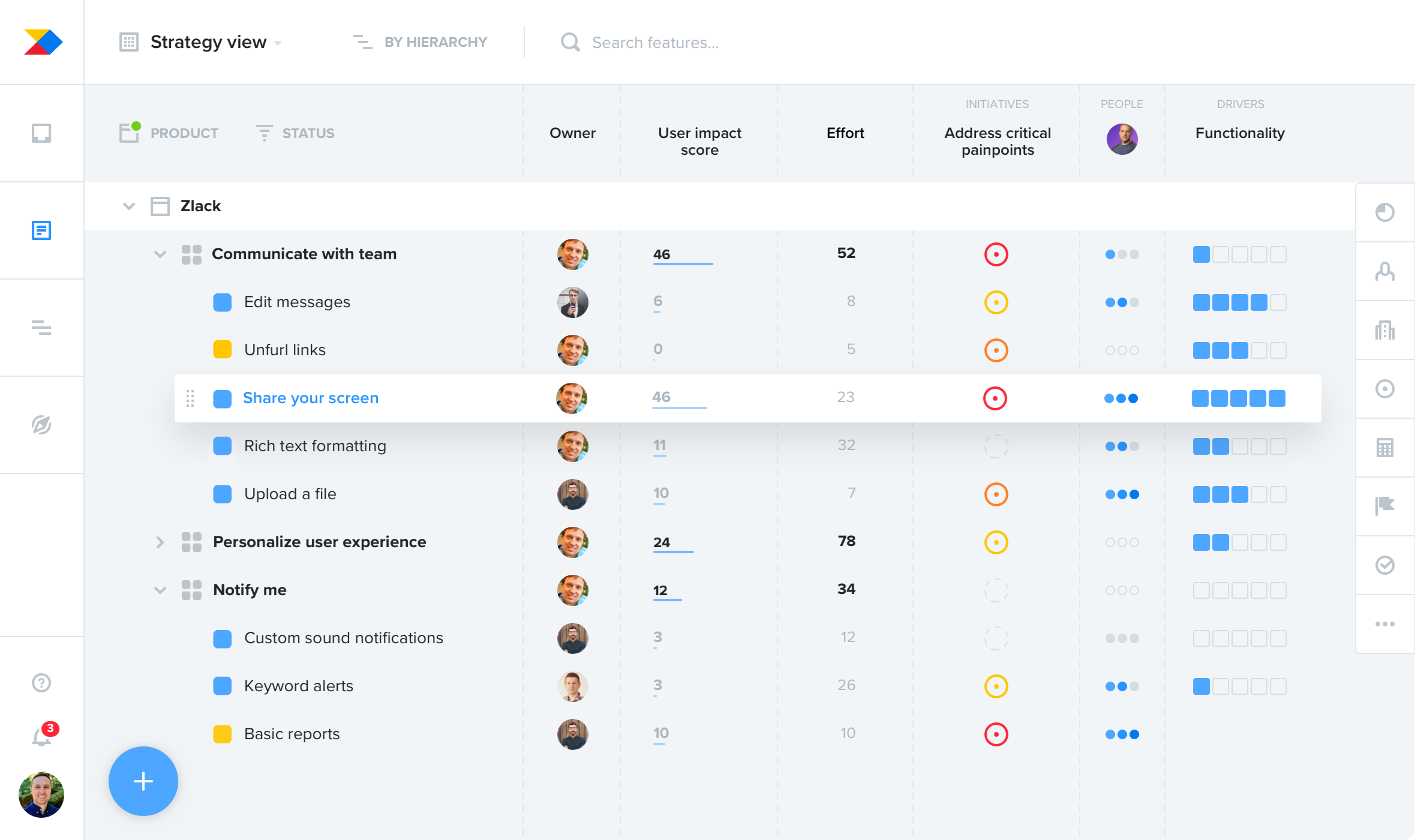 Productboard screenshot: Organize and prioritize feature ideas based on user needs and business objectives