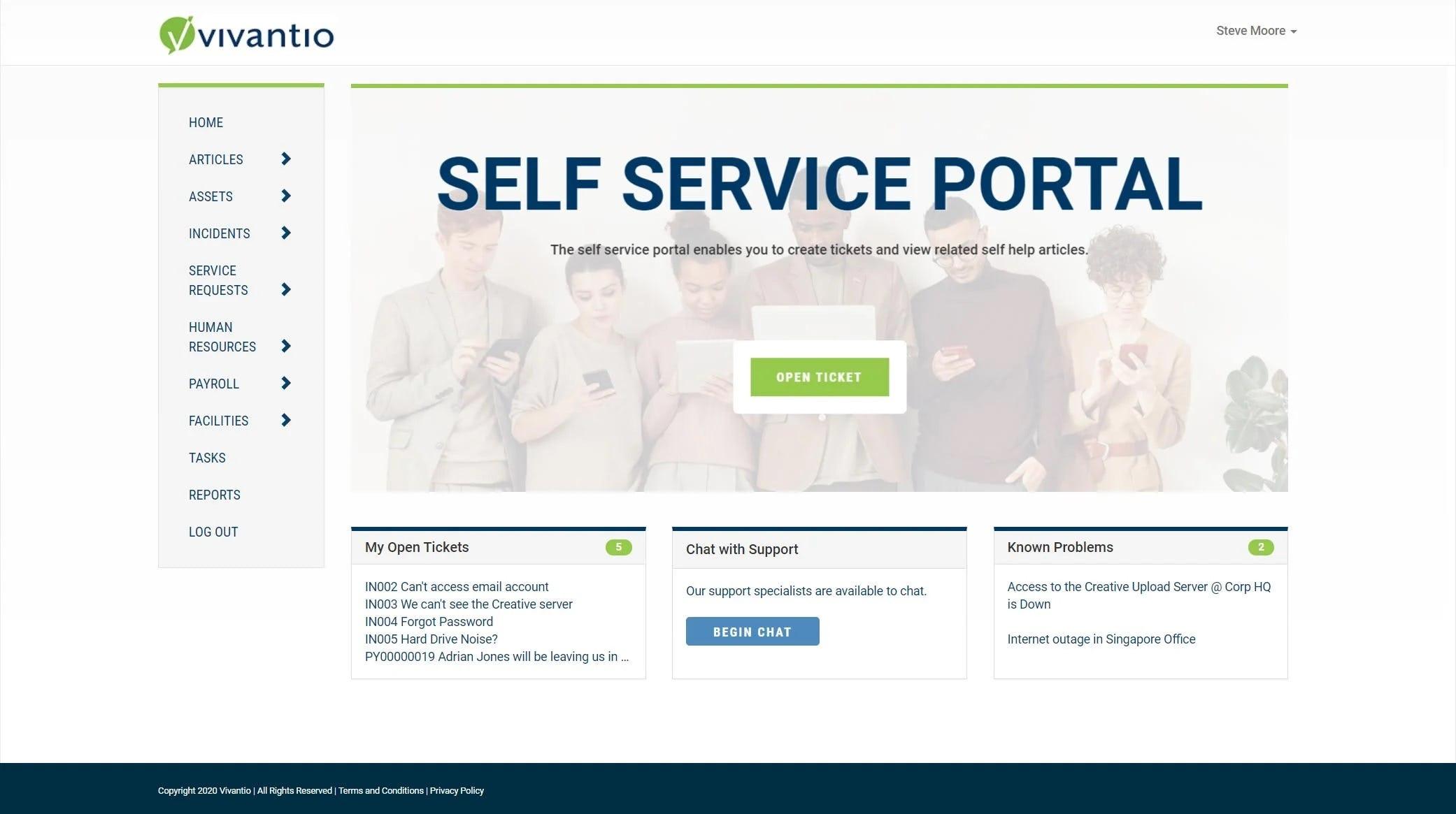 Vivantio Software - Self Service Portal