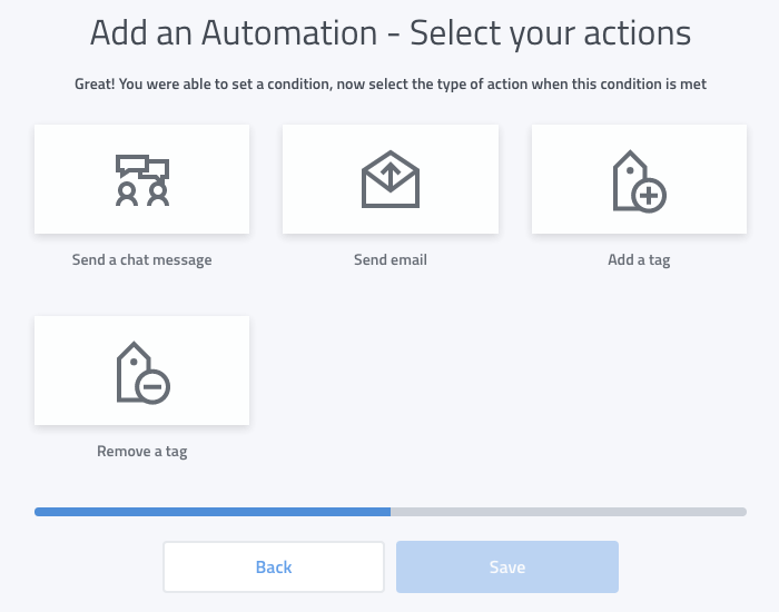 A range of automation actions are available