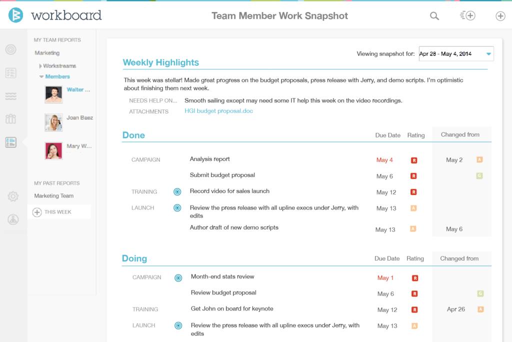 Workboard Software - Team member snapshot