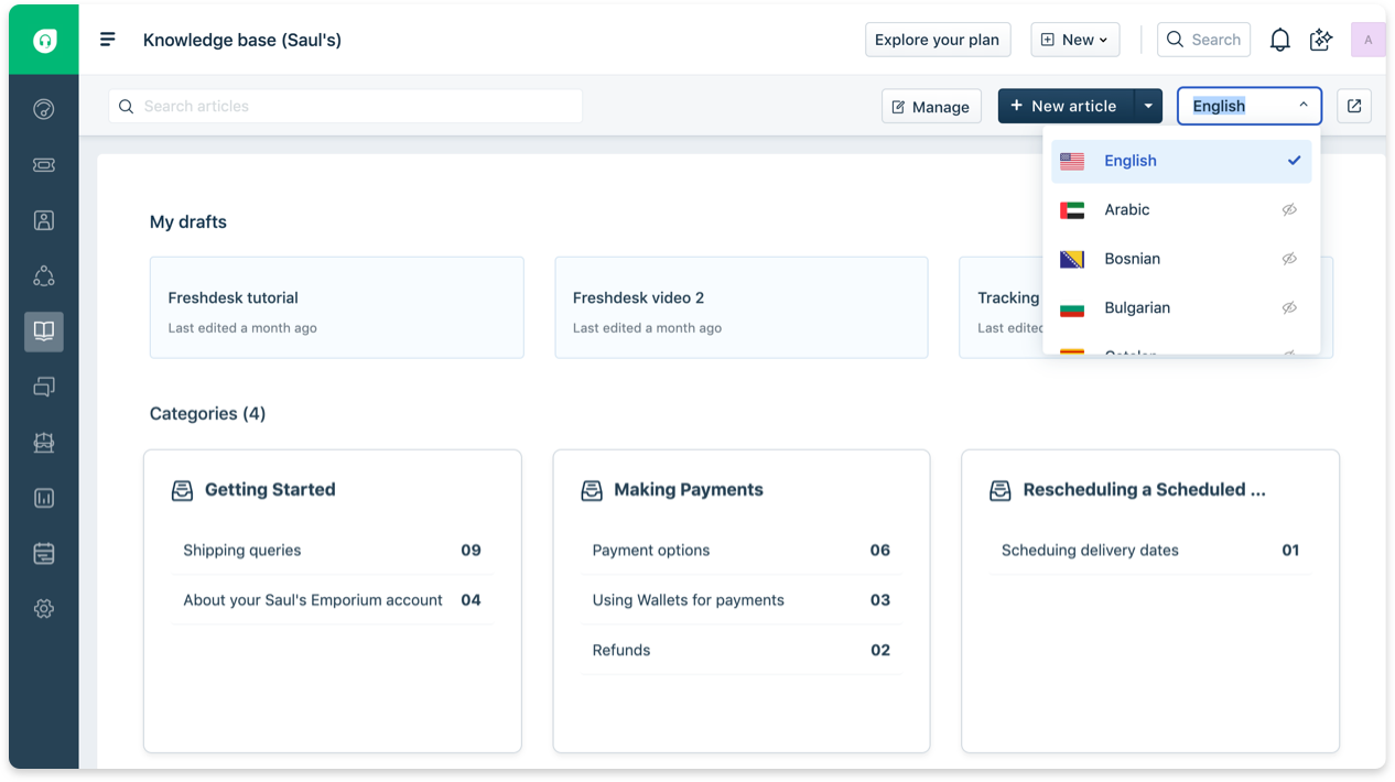 Freshdesk multilingual knowledge base