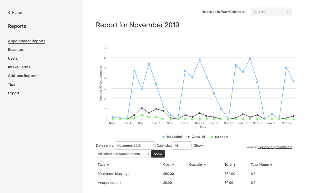 Generate reports of your income and appointment volumes