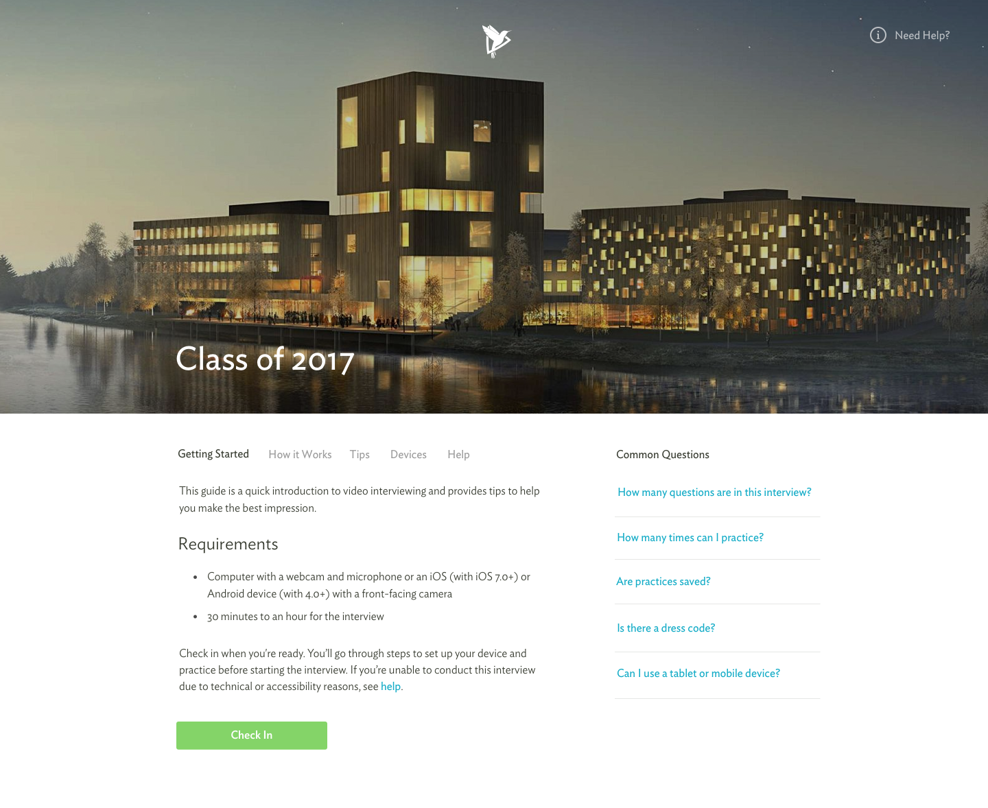 """A school's sample """"check in"""" page: The branded portal to their Kira assessment experience."""