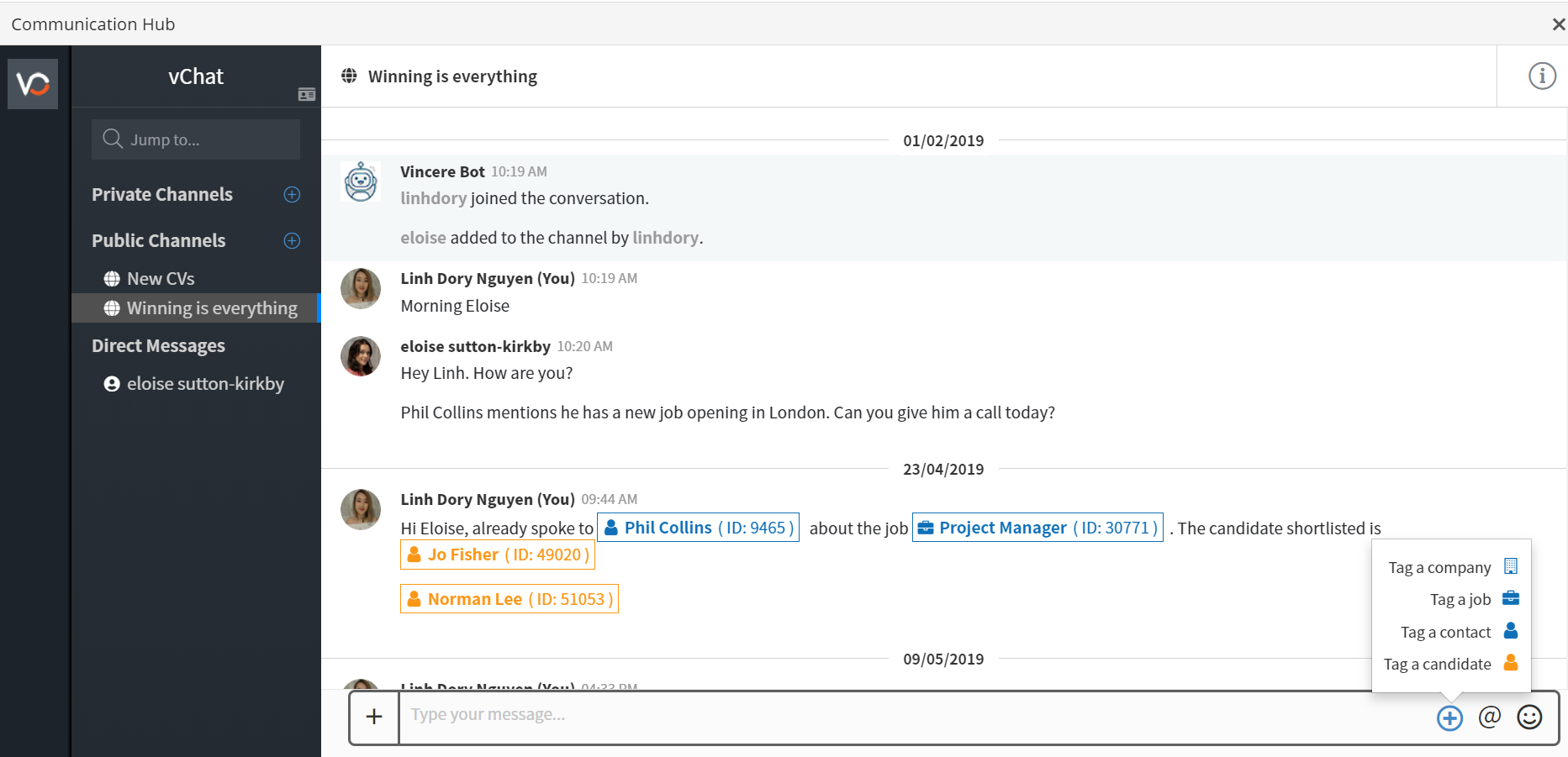 VinnyChat: Vincere's built-in instant messaging & collaboration tool