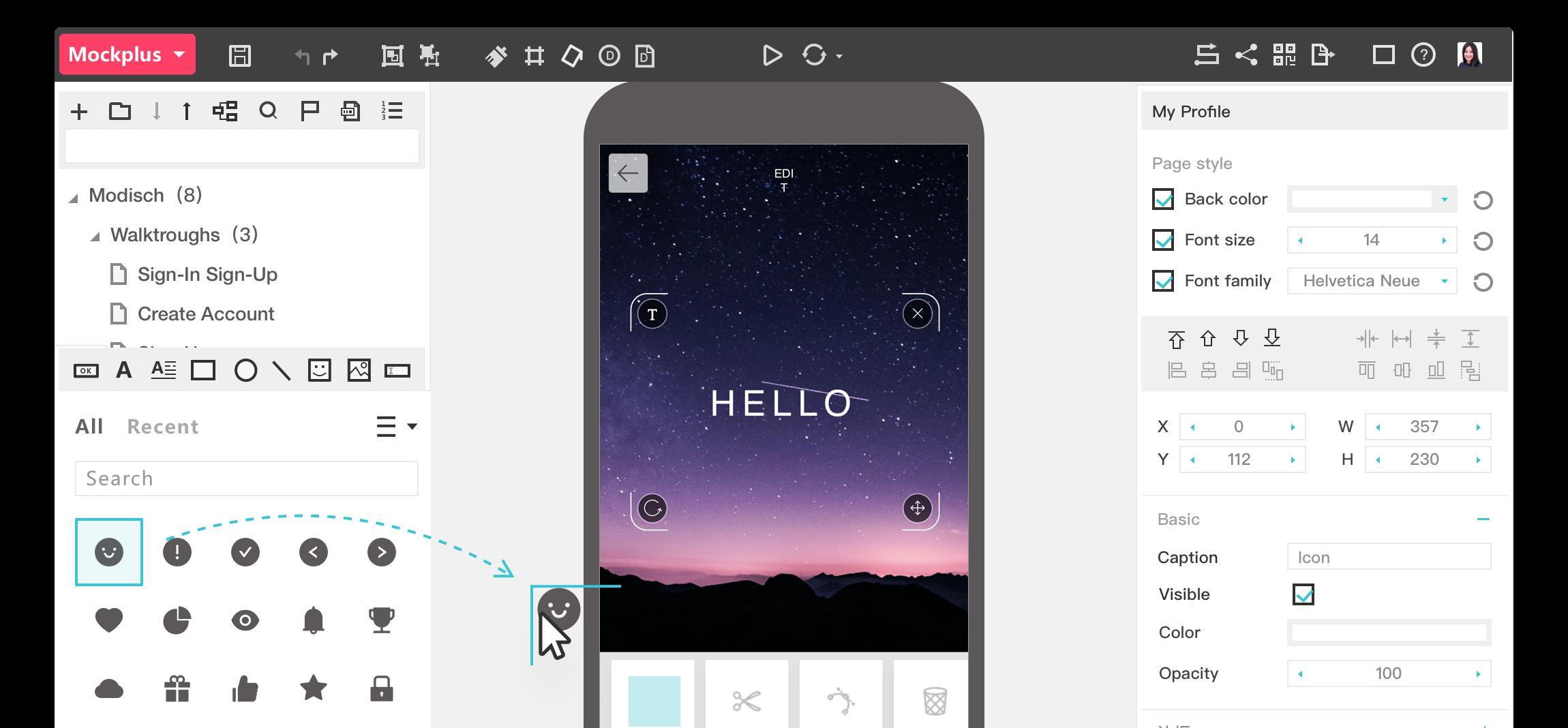 Mockplus drag-and-drop option screenshot