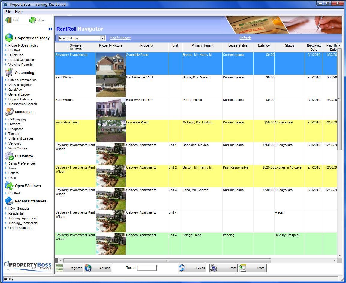Interactive RentRoll and navigators