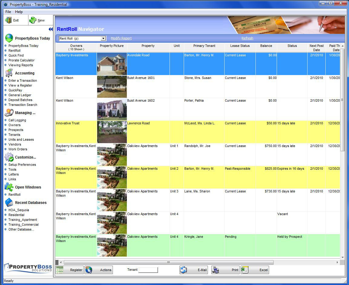 PropertyBoss Software - Interactive RentRoll and navigators