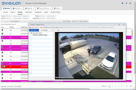 Access Control Manager video interface