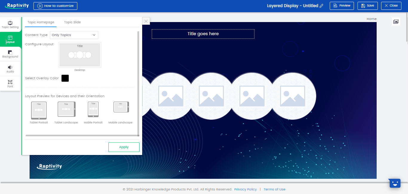 Raptivity Software - Raptivity layout