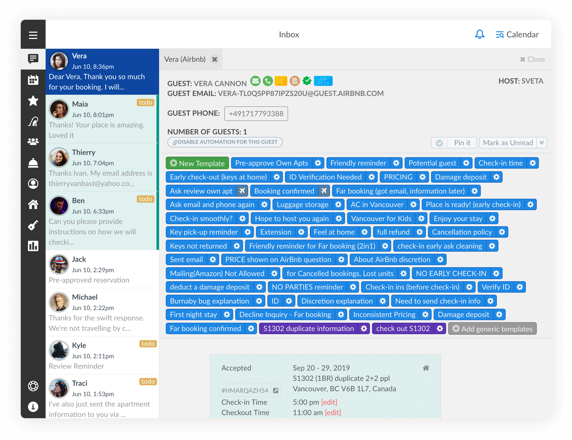 iGMS screenshot: A single inbox to communicate with guests from a variety of accounts