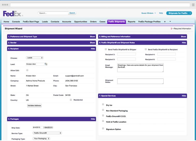 ZenKraft Shipmate screenshot: FedEx wizard