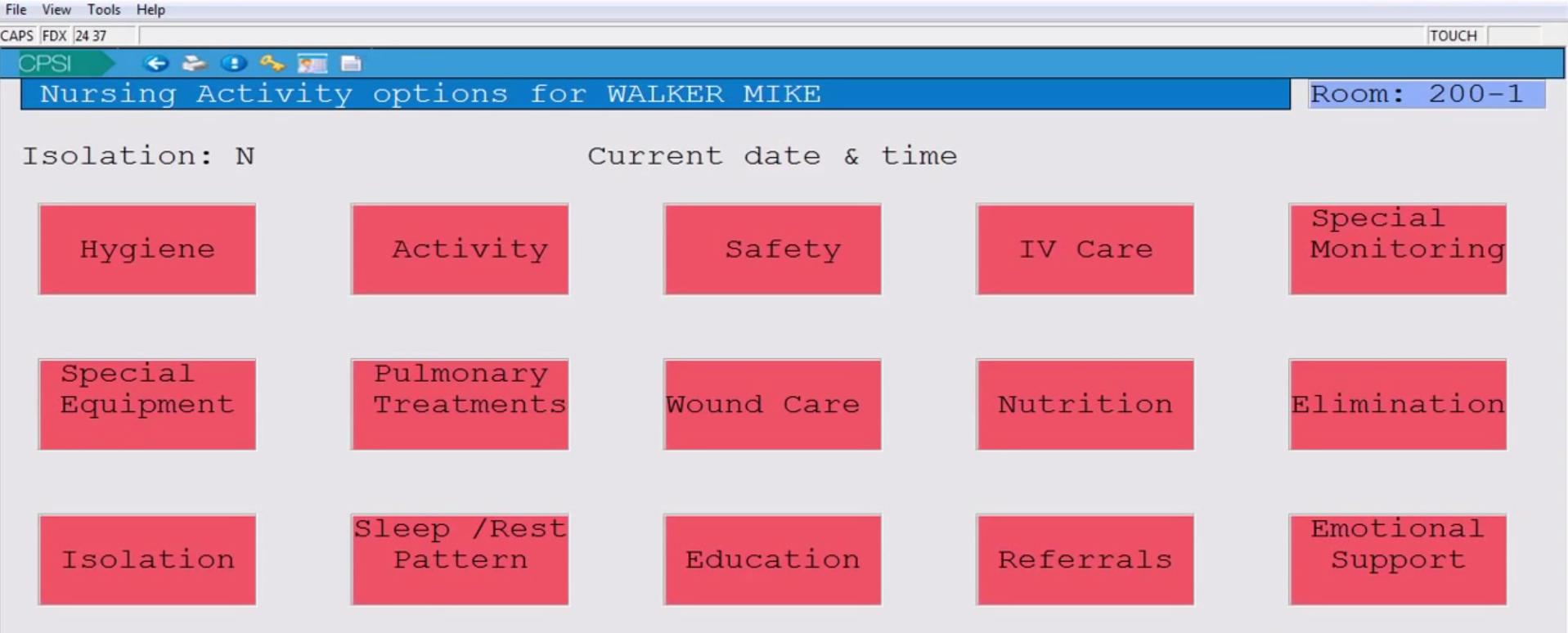 Patient activity menu